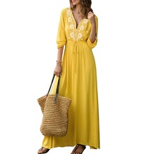 2019 Summer Women V Neck Printed Dress Casual Bohemia Yellow Long Maxi Elegant Beach