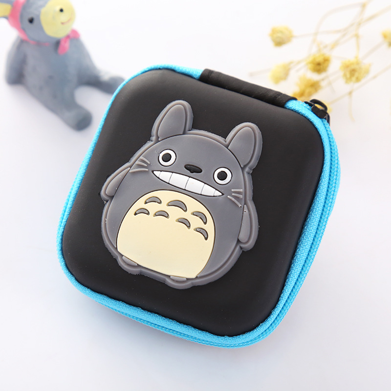 Anime Japanese Totoro Silicone Coin Purse USB Cable Earphone Holder Cute Cartoon Coin Key Storage Box Case Mini Gifts Wallets candy colored girls coin bags women key wallets cute pu eva mini square storage hard bag case holder for sd tf card earphone