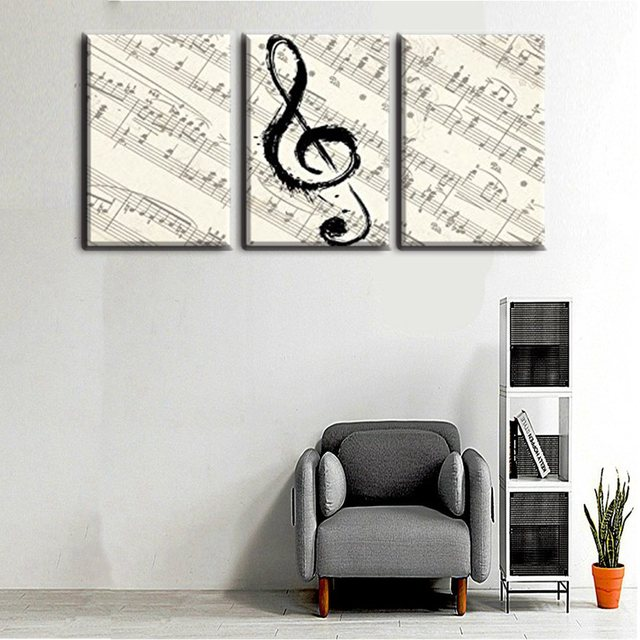 Pretty White Black G Clef Staff Painting Canvas Printed 3pcs