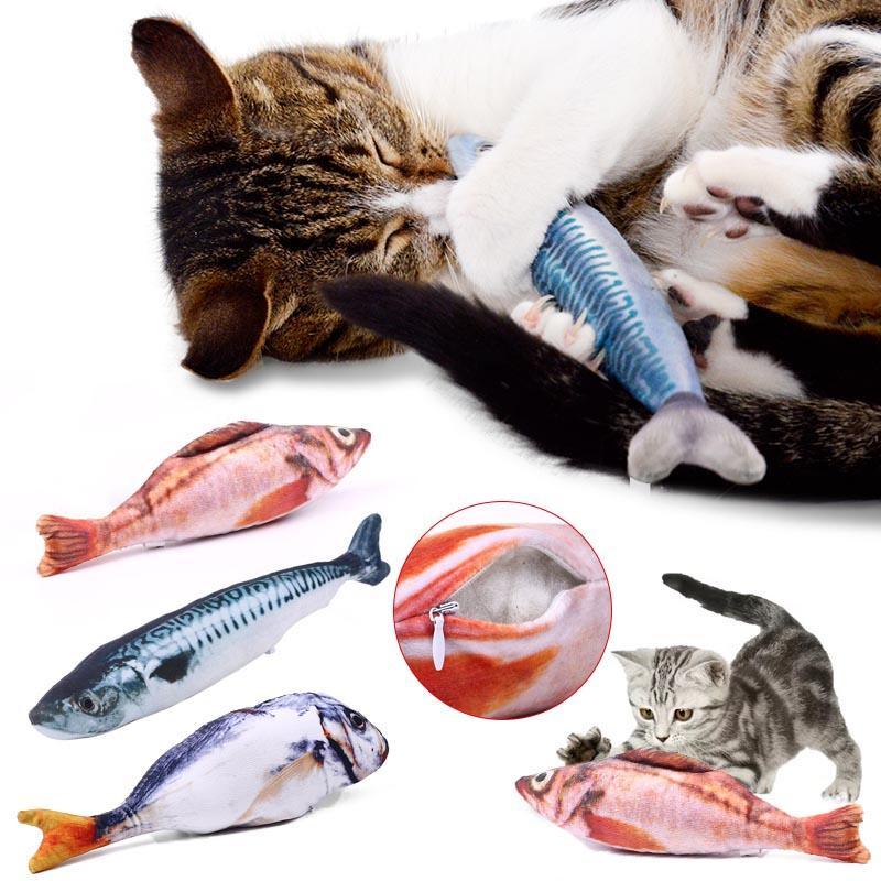 Funny Stuffed Plush Mint Simulation Fish Cat Toys Gift Pet Products Multicolor Gatos Jouet Chat Katten Speelgoed Catnip