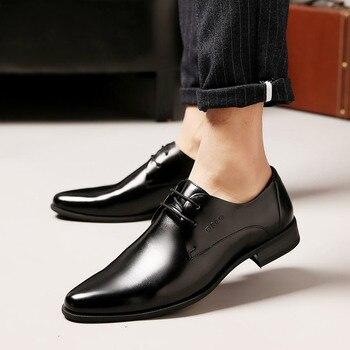 4572093d OSCO hombres zapatos Primavera Verano Formal cuero genuino negocios Casual zapatos  hombres vestido Oficina zapatos de lujo hombre transpirable Oxfords