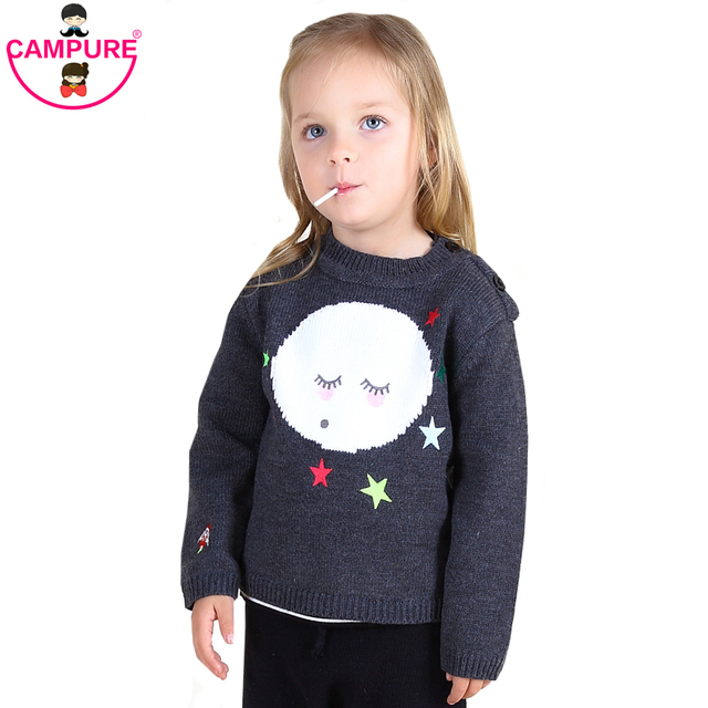 New INS HOT MOON FACE Sweater Kids Long Sleeves Winter Clothes For Children Girls & Boys Sweaters 2016 Kids Clothes Sweater Girl