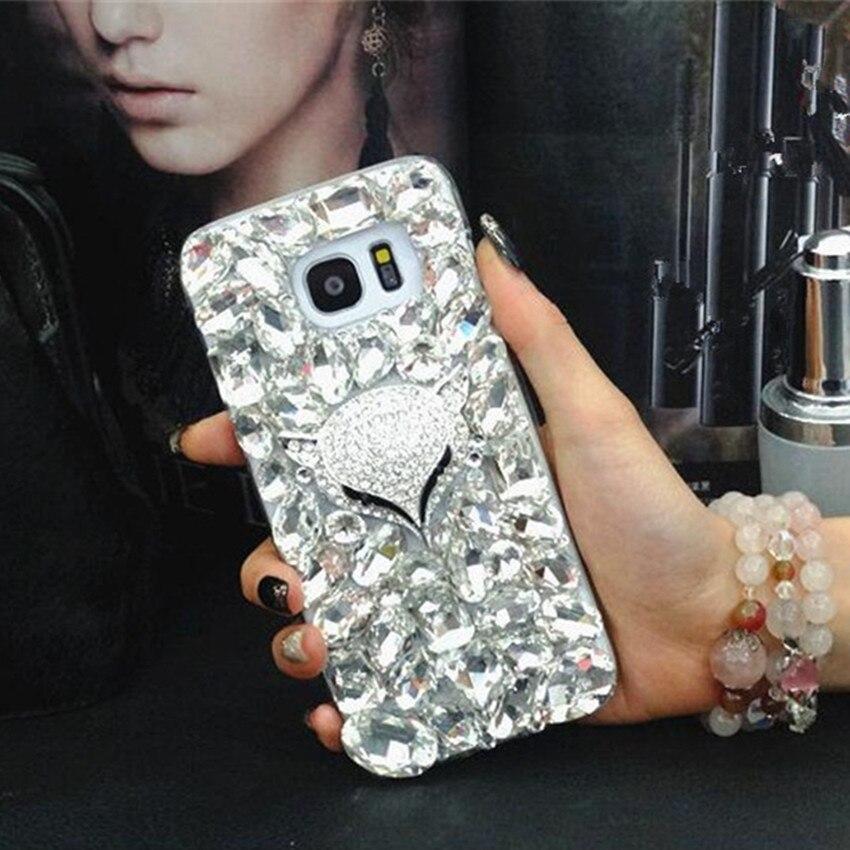 Bling Strass Kristall Diamant Fuchs und Rose Softphone Fall Für Samsung Galaxy Note 8 Blume Abdeckung für Samsung N3 N4 N5