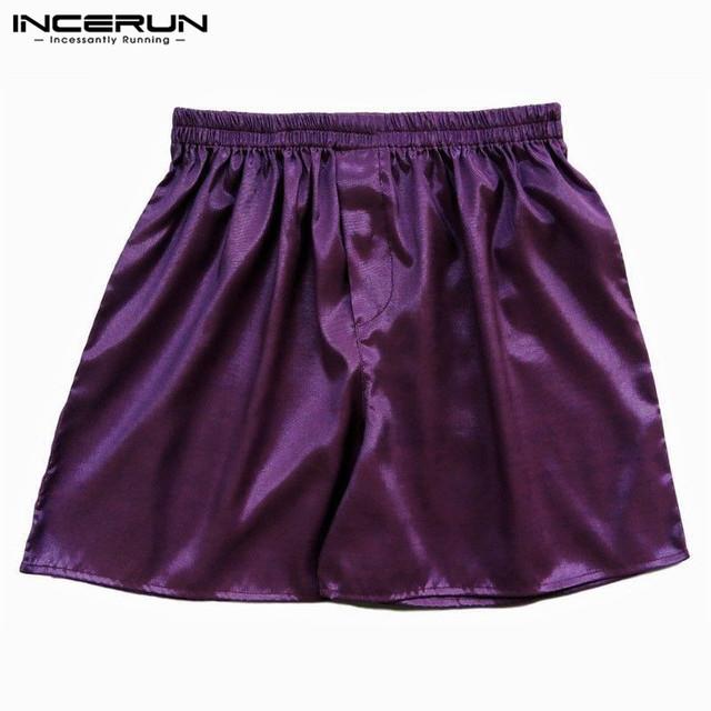 2018 Hot Sale Thai Silk Satin Men Sleep Boxer Bottoms Pajama Sleepwear Homewear Solid Color Robes Underwear Shorts S-5XL 7 Color