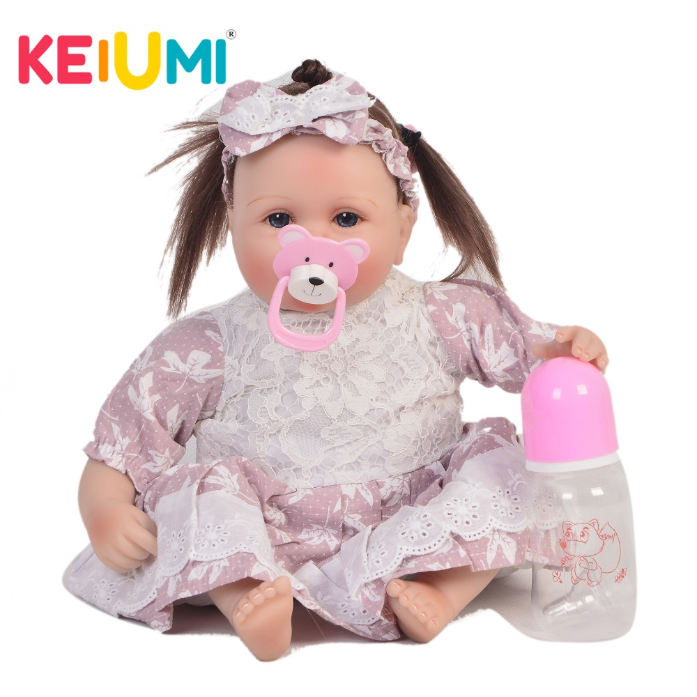 KEIUMI Realistic 17'' 42 cm Doll Baby Reborn Cloth Body Lifelike Princess Girl Doll Babies Toy For Kids Christmas Birthday Gifts keiumi realistic silicone reborn babies doll lifelike 22 princess baby girl doll gold hair bebe reborn toys for kids gifts