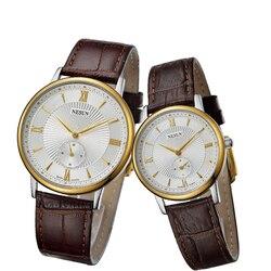 Nesun szwajcaria luksusowej marki zegarka kobiet Japan Miyota kwarcowy ruch męskie zegarki prawdziwej skóry para zegar N8501-LL3