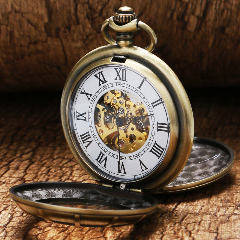 Luxury Bronze Double Full Hunter Hollow Case With Glass & Roman Number Dial Skeleton Mechanical Pocket Watch Hot Selling