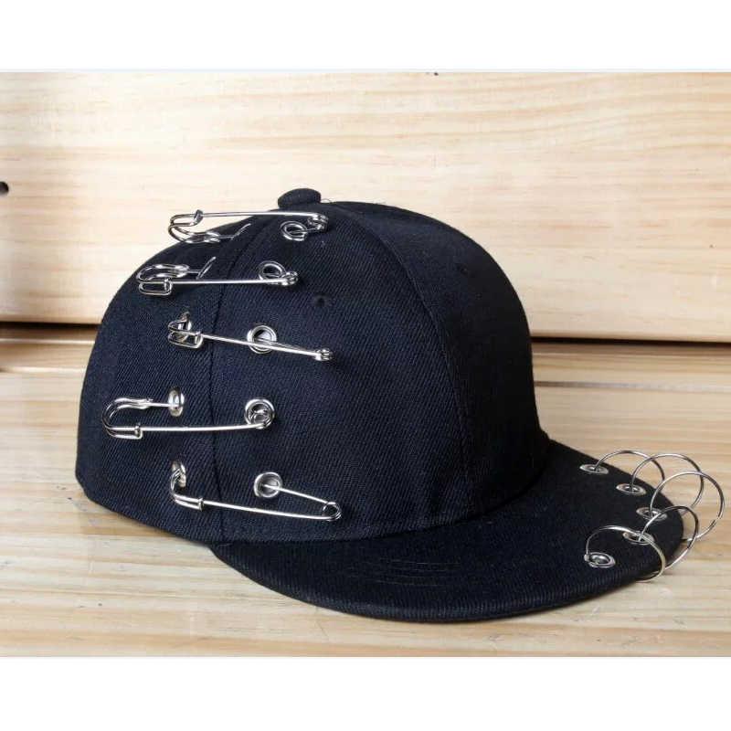 best service b9ad3 839d9 ... Kids Fashion Metal Ring Iron Tassel Rivet Baseball Caps Snapback  Adjustable Casual Punk Rock Style Chain ...