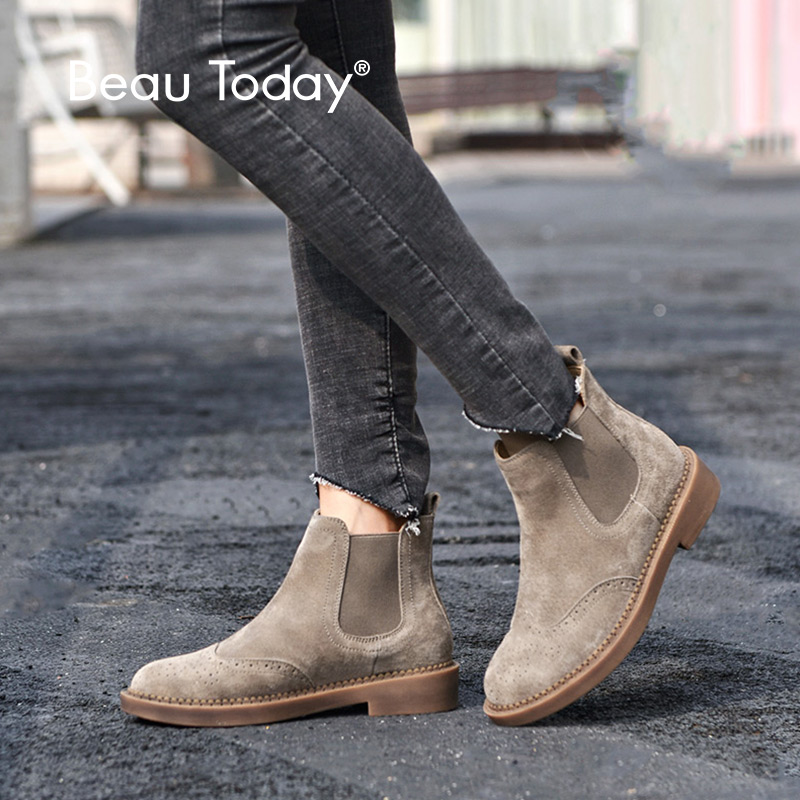 BeauToday Chelsea Boots Women Elastic Ankle Pig Suede Brogue Boot Genuine Leather Quality Brand Lady Shoes
