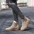 BeauToday Chelsea Stiefel Frauen Elastische Ankle Schwein Wildleder Brogue Boot Echtes Leder Qualität Marke Dame Schuhe Handgemachte 04016-in Knöchel-Boots aus Schuhe bei
