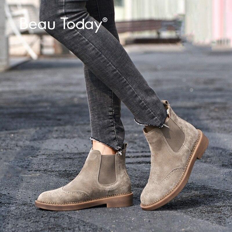 Beautoday chelsea botas femininas elástico tornozelo porco camurça brogue boot couro genuíno qualidade marca senhora sapatos feitos à mão 04016