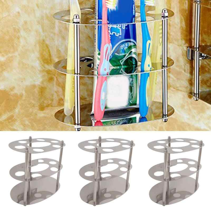 Stainless Steel Wall Mounted Polishing Toothbrush Holder Bathroom Storage Organizer Ware Shelf Toothpaste Stand Home Decoration