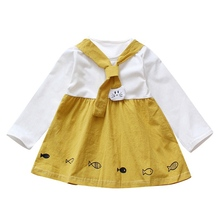 Cute Baby Girl Tutu Dress Toddler Fishes Pattern Full Sleeve Cotton Dresses Cartoon Clothes
