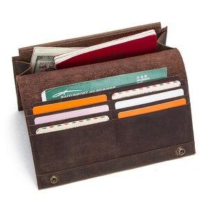 Image 4 - İletİşİm çılgın at hakiki deri erkek uzun cüzdan için cep telefonu vintage çile debriyaj cüzdan erkek kart sahipleri ince çanta