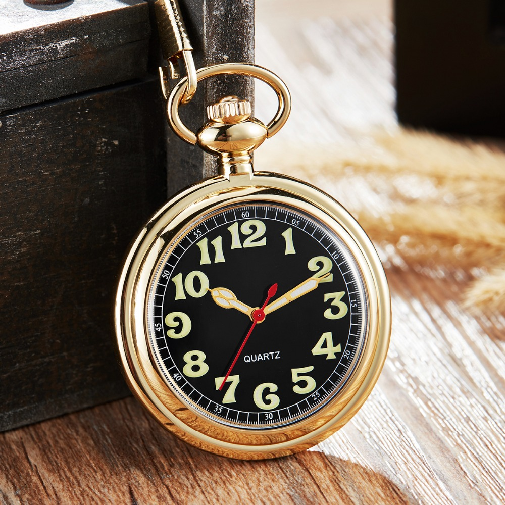 Fashion Gold Silver Pocket <font><b>Watch</b></font> Men Women Quartz <font><b>Watch</b></font> <font><b>Big</b></font> Numeral Dial FOB Chain Pendants Steampunk Clock image