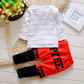 New 2016 baby boy clothes infant clothes cotton  striped long sleeve t-shirt + pants 2pcs suit baby boy clothing sets