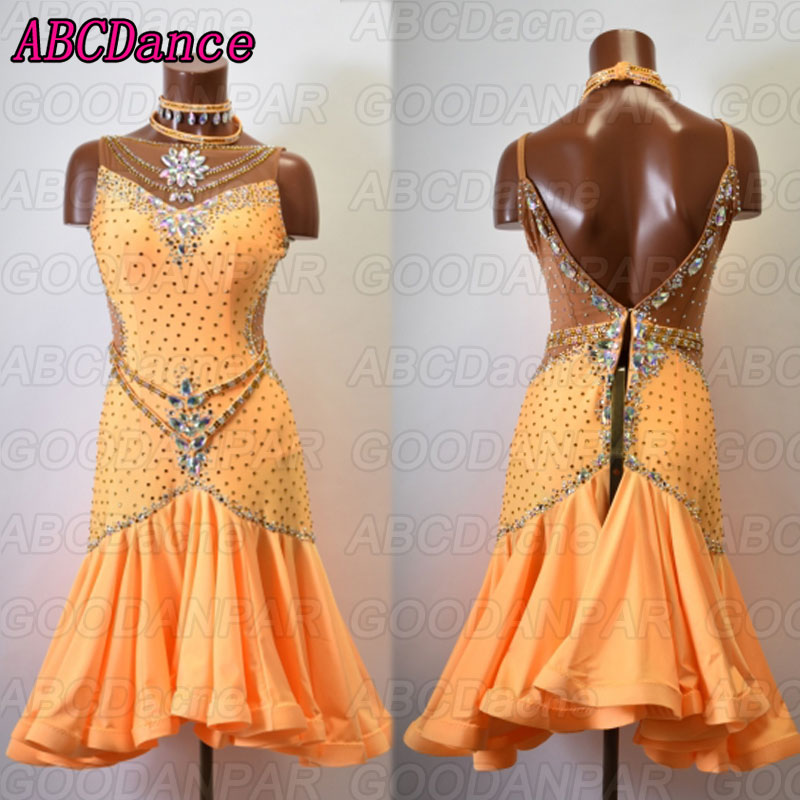 Latin Dance Dress Women Sleeveless Cha Cha Rumba Samba Tango Dance Dresses Handmade Custom-made