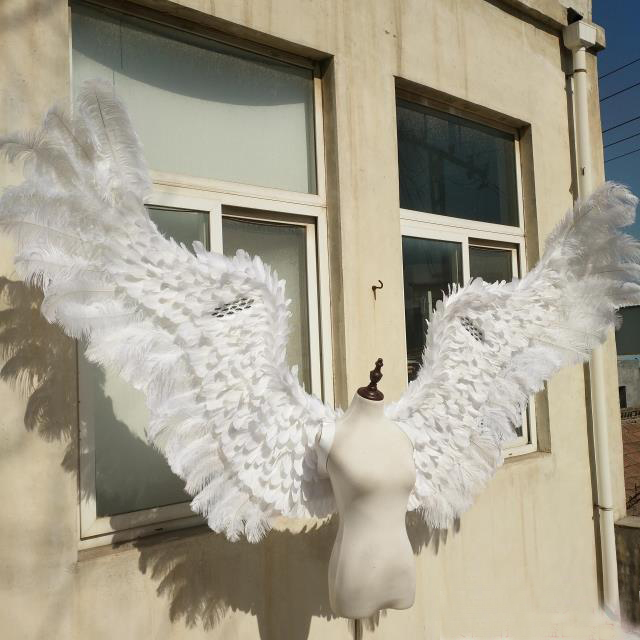 Pure White adult angel wing catwalk underwear show props festival Angel Feather wing cosplay costume party props