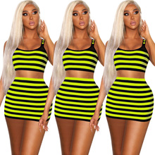 Striped Sexy Club Neon Two Piece Womens Shorts Outfit Set Crop Top and Skirt Suits Co-ord Set 2019 Summer Matching Sets Clothing sexy self tie halter open back crop top and elastic waist hotpants co ord page 1