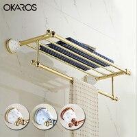 OKAROS Towel Rack Holder Towel Shelf Tower Rail Towel Hanger Solid Brass Golden/Chrome Diamond Decoration Bathroom Accessories