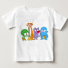 Childrens animated space flight print T-shirt boys and Girls Summer funny alien cartoon animation MJ