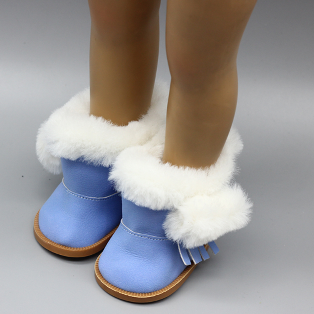 1 Pair Mini Doll Shoes Plush Winter Boots Dolls Accessories for 18 Inch Dolls