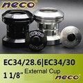 Neco Headset Threadless 34 мм EC34 28 6 30 Bearing headset внешняя чашка дорожный велосипед горный велосипед 34 мм черный серебристый белый