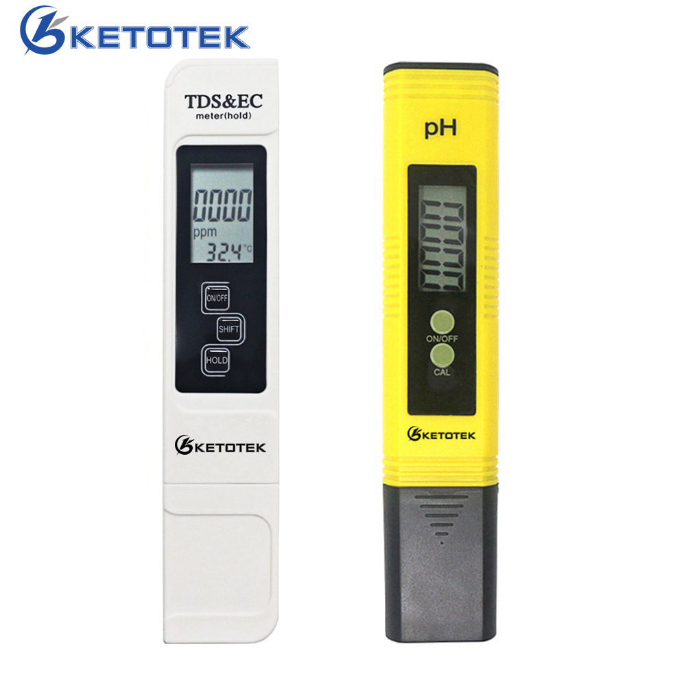 Portable Digital PH Meter 0.00-14.0 PH Tester TDS&EC Meter Thermometer 0-9999us/cm 0-9999ppm 0.1-80.0degree Water Qualit Monitor