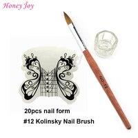 Pro Akrilik Nails Tool Kit Set BOYUT no.4 12 Kolinsky Samur Akrilik Tırnak Sanat Fırça, 20 adet Beyaz Kelebek tırnak Formu, Cam Bardak