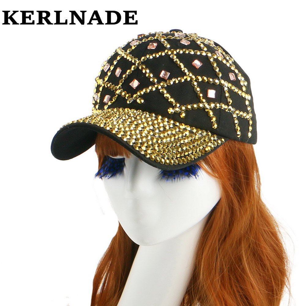 high quality new style gold color rhinestone net design spring summer women girl decorate hip hop snapback baseball cap hats