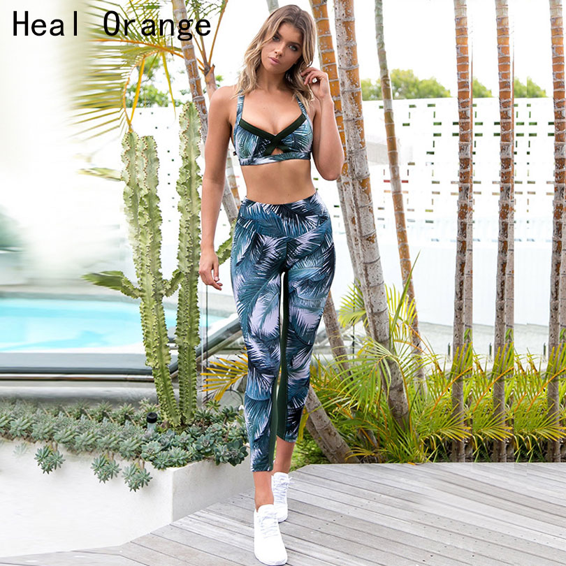 <font><b>2018</b></font> Women <font><b>Sexy</b></font> Gym Clothing Suit Floral Print <font><b>Yoga</b></font> Set <font><b>Fitness</b></font> Running Tight <font><b>Sport</b></font> Wear Gym Clothes <font><b>Sport</b></font> Wear <font><b>Sports</b></font> Bra+Pant image
