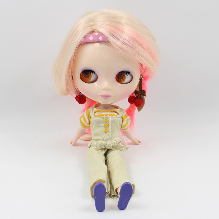 Factory Blyth Doll Nude Doll Mixed Color Golden Pink Short Hair Central Cut With Braid 4