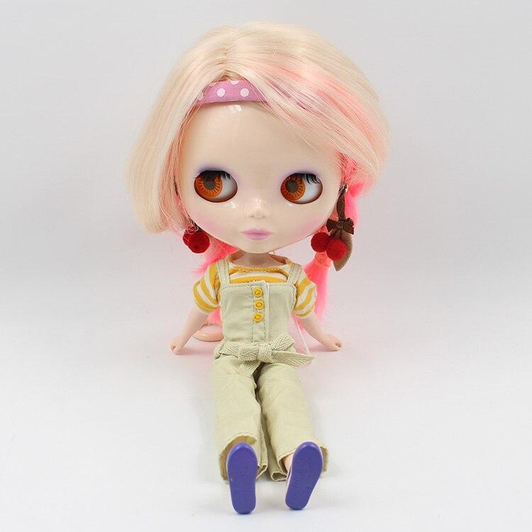 ตุ๊กตาบลายธ์ตุ๊กตาตุ๊กตา Nude ผสมสีสีทองและสีชมพูสั้น Central ตัด Braid 4 สีตาเหมาะสำหรับ DIY-ใน ตุ๊กตา จาก ของเล่นและงานอดิเรก บน   1