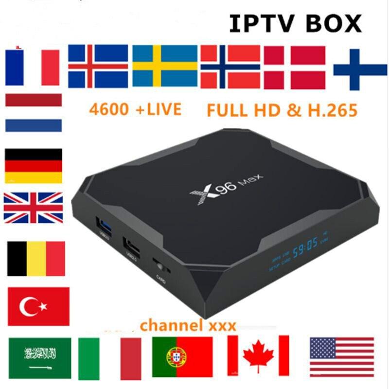 Français IPTV BOX X96 MAX android TV box 8.1 + IPTV abonnement suède belgique Europe UK espagne USA M3U adulte xxx smart tv box