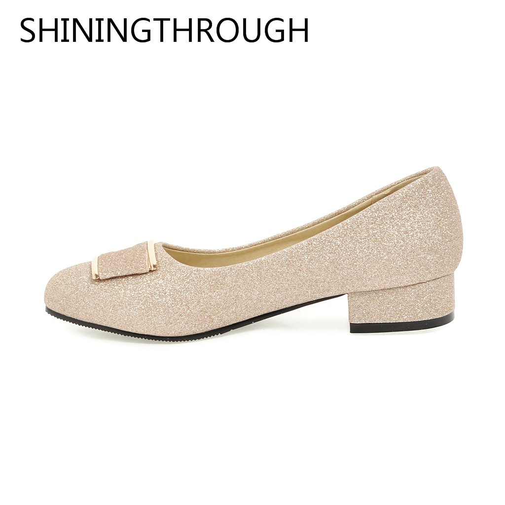 SHININGTHROUGH Women Basic Pumps Concise Round Toe low Heels Wedding Casual Soft Slip-on pumps Sweet new women shoes concise flock and round toe design pumps for women