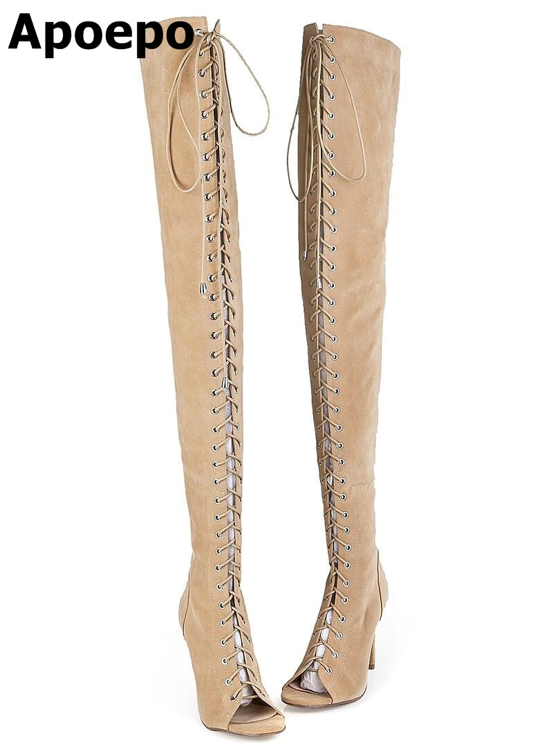 2017 Hot Sexy Club Women Boots Lace Up Thigh High Boots Cut-Outs Gladiator Boots Over Knee Plus Size 12 13 2017 summer newest hot sexy women narrow band high boots cut outs gladiator over the knee booty club boots women shoes