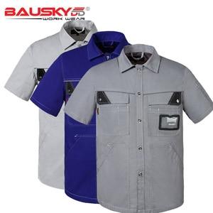 Image 1 - Mannen werkkleding uniform werk shirt korte mouw met zakken voor monteur timmerman