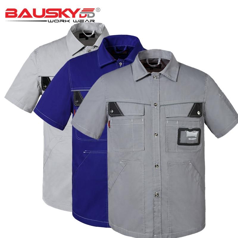 Men's Workwear Uniform Work Shirt Short Sleeve With Pockets For Mechanic Carpenter