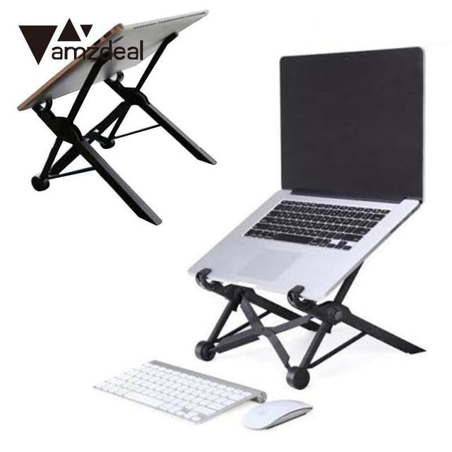 AMZDEAL Folding Laptop Stand Portable Stand Adjustable Height Laptop Table  Stand Bracket For MacBook Stand Table Lapdesk