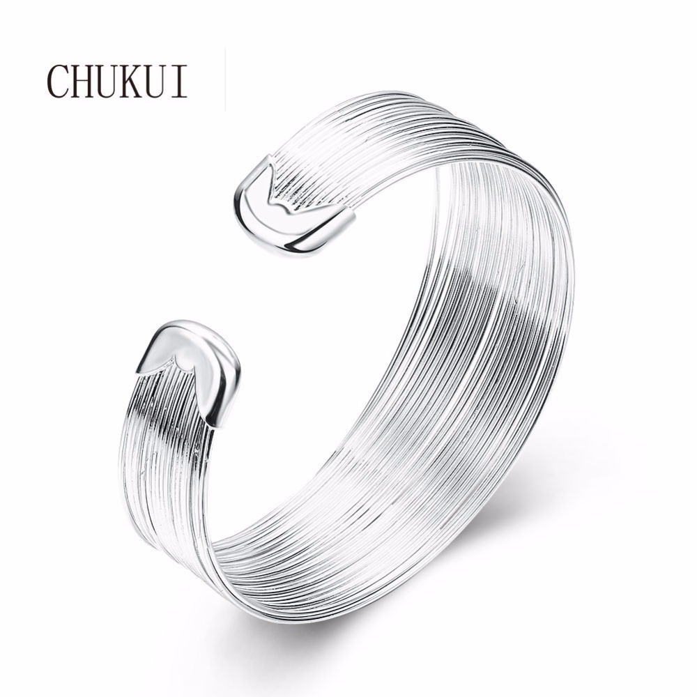 CHUKUI Silver Open Cuff Bracelets Bangles Womens Fashion Metal Copper Wide Cuff Bangle Bracelet 2018 bangle