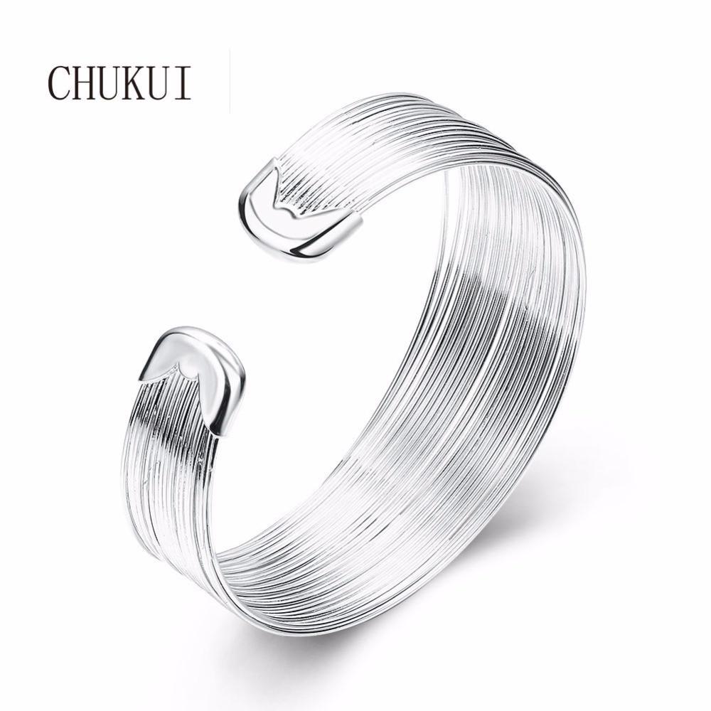CHUKUI Silver Open Cuff Bracelets Bangles Womens Fashion Metal Copper Wide Cuff Bangle Bracelet 2018 open cuff bangle