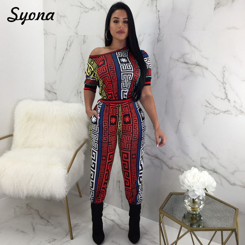Casual Loose African Print JUMPSUIT WOMEN ROMPERS Short Sleeve Long Trousers One Piece Overall Streetwear Elegant Female Palazzo