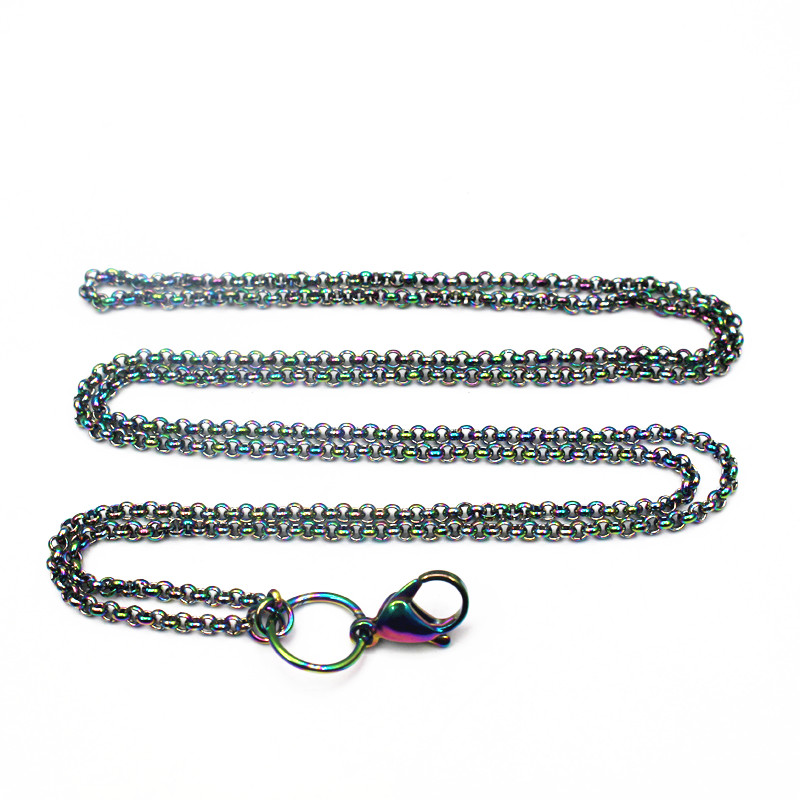 Hot Selling 10pcs/lot 32 Inches Stainless Steel Rainbow Rolo Chains Floating Locket Chains Necklace Chain DIY Jewelry