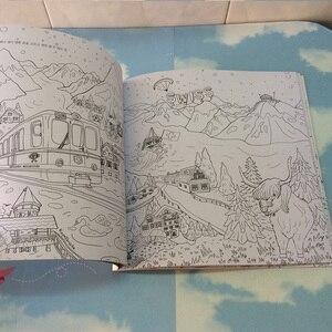 Image 5 - 64 דפים סביב העולם צביעת ספר סוד גן צביעת ספר למבוגרים ילדי להקל על לחץ גרפיטי ציור ספר