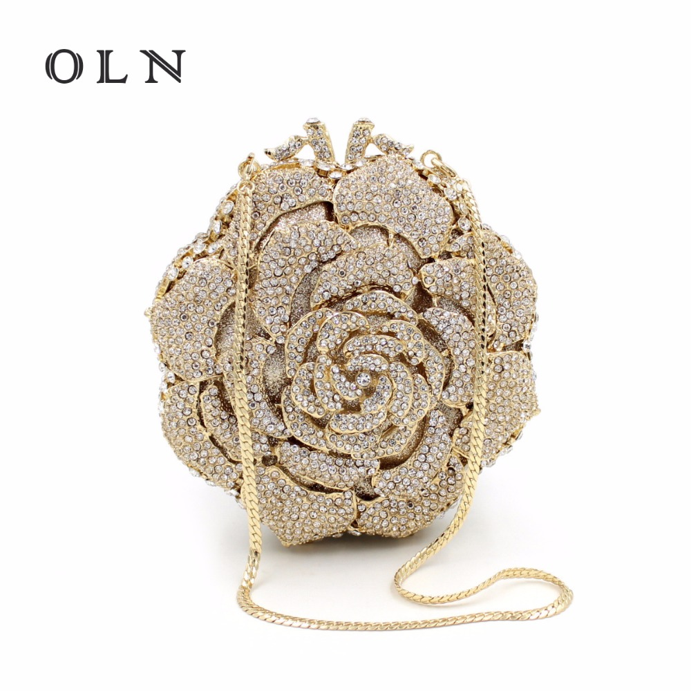 OLN Rose Graphics Luxury Brand Hollow-out Metal Small Round Package With Diamond Bag Ladies Banquet Bag Handbags Shoulder Bag oln brand 100