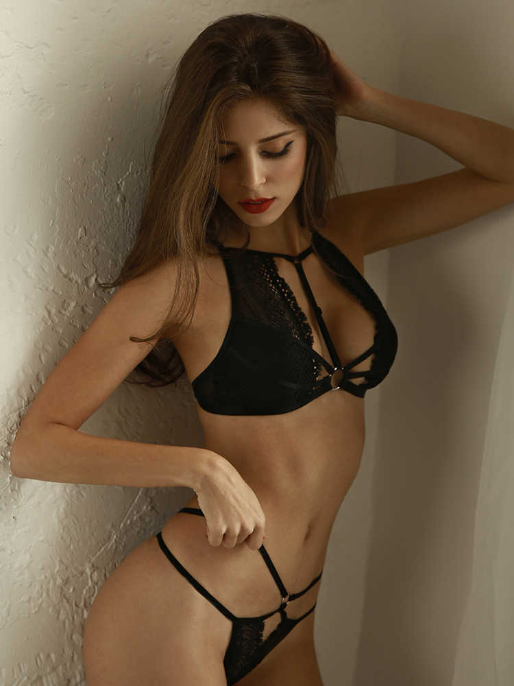 ed1a8b962a ... Perspective Bralette Sets Lenceria Intimates Sexy Lingerie Women s  Ultra-thin Lace Temptation Underwire Bra Panty ...