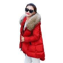 Толстые Теплые Зимние Парки Куртки Женщин Утка Пуховик Женщин Вытяжки Меховой Воротник на Средние и Длинные 2016 Новая Мода Пальто Верхняя Одежда
