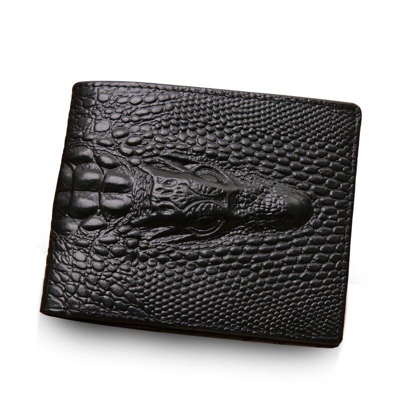 NEUE Männer Brieftasche Aus Echtem Leder taschen portfolio Vintage krokodilkopf Schürzt Credit Card Holders Dollar Wallet Clutch