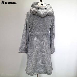 Image 3 - Frauen Winter Warm Flanell Bad Robe Frauen Lange Handtuch Bademantel Frauen Dressing Kleid Weibliche Nette Bär Kimono Nachtwäsche Braut Robe