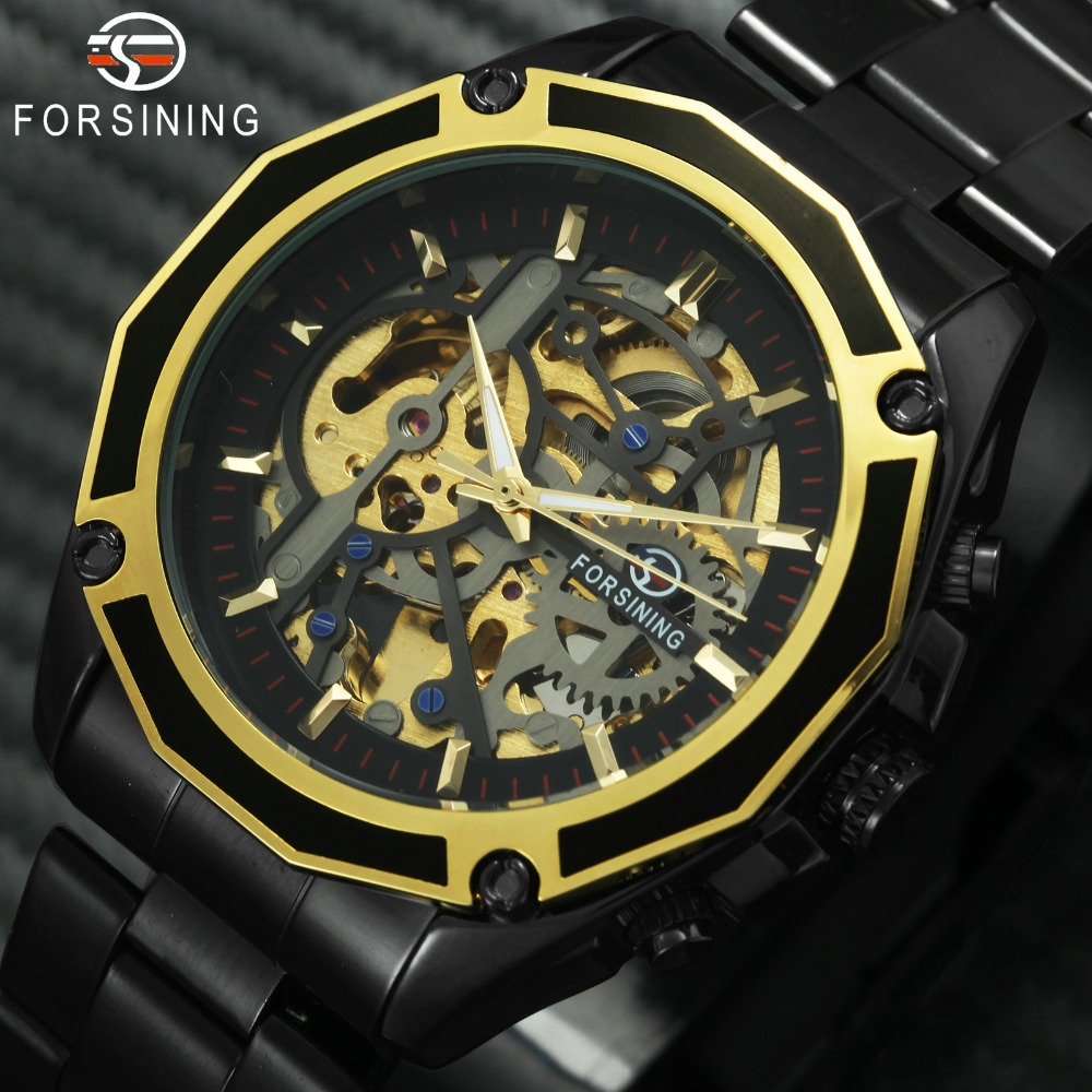 FORSINING Fashion Auto Mechanical Mens Watches Top Brand Luxury Golden Skeleton Dial Stainless Steel Strap Wrist Watch for Man fashion leisure sport automatic mechanical wrist watches for mens clock luxury brand leather band skeleton dial steel mens watch